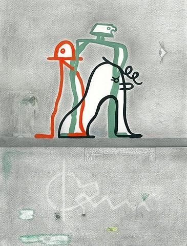 Hello trio Acrylique et crayon sur papier 28,5 x 35 cm