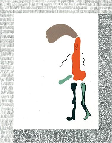 """Formes oranges et vertes De la série """"Les cadres fous"""" 21 x 16,5 cm ©Blanche Daramir 2014 2014 33 x 28 cm"""