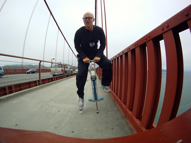 artist michael barrett jumping the golden gate san francisco performance art