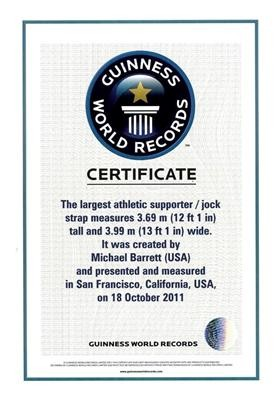 artist michael barrett guinness world record worlds largest jockstrap