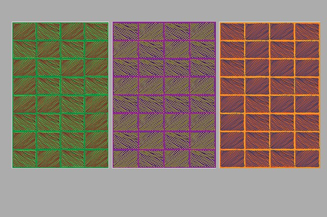 Four Factorial in Three Panels Green Violet and Orange