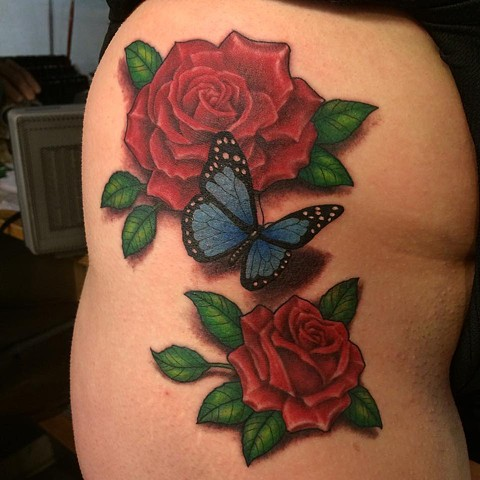 Roses butterfly realistic
