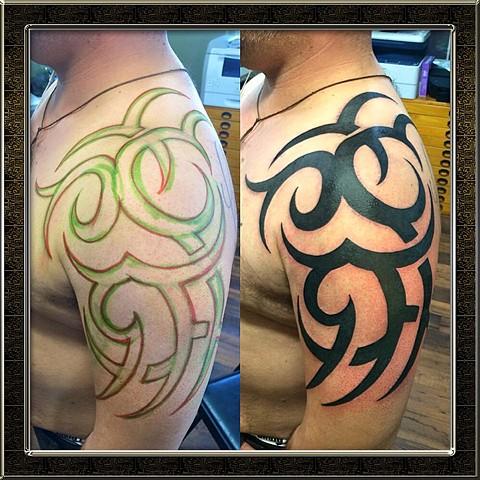 Tribal half sleeve (free hand)