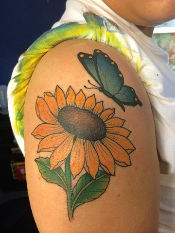 sun flower/butterfly