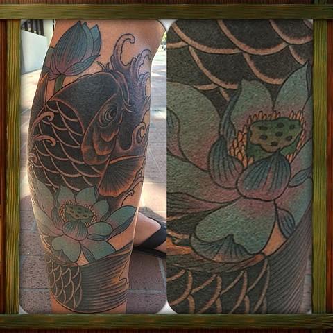 Koi fish lotus leg