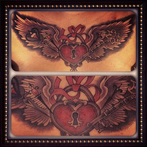 heart wings chest piece