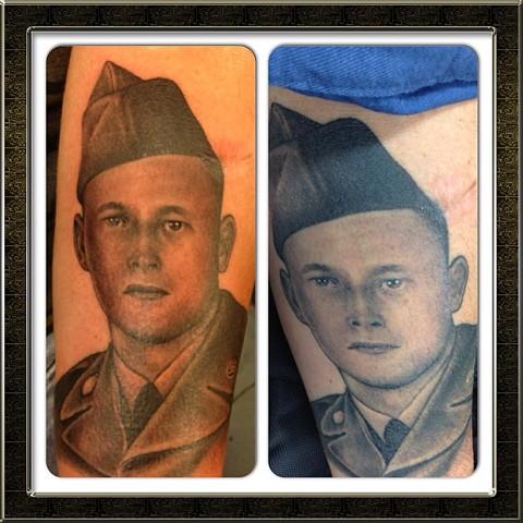 Soldier portrait fresh vs healed