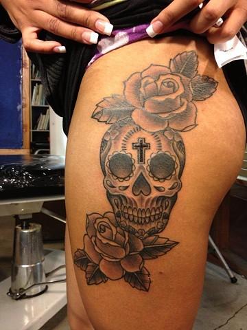 sugar skull roses b/g