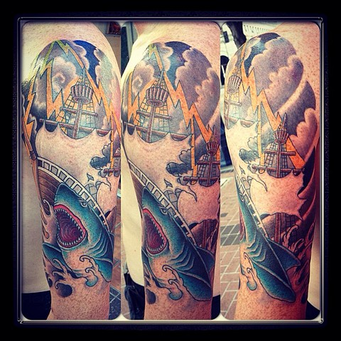 Ship/Shark half sleeve