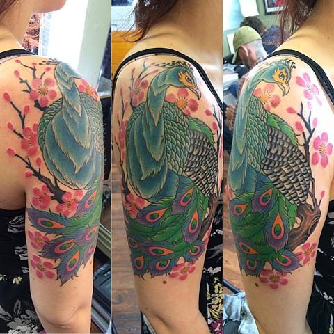 Peacock cherry blossom half sleeve