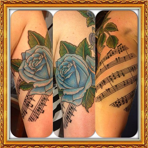 Blue rose/music notes