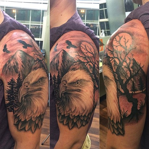 Eagle mountain landscape half sleeve