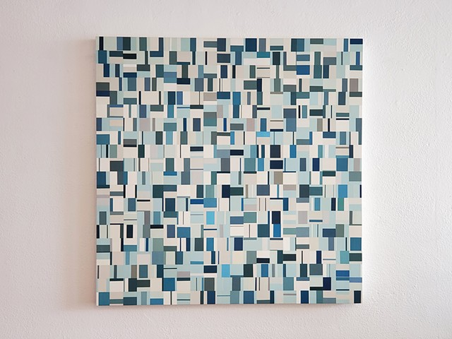 square, contemporary art, singular forms repeated, collaged painting, yong sin, pattern recognition