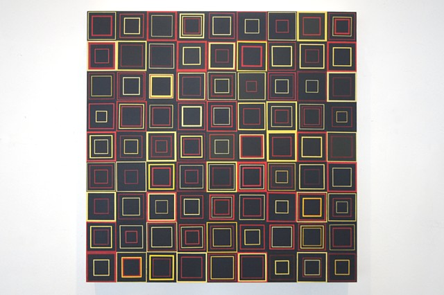 square, contemporary art, singular forms repeated, collaged painting, yong sin