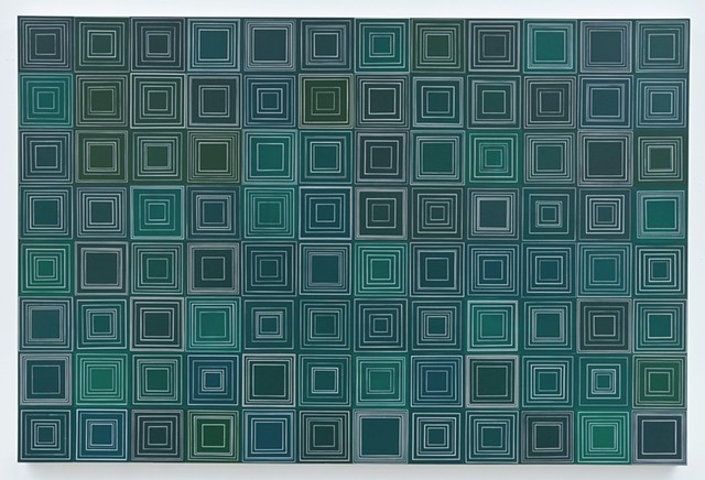 deform, square, squares, collaged painting, chalk board color, repetition, unmeasured, geometric, not the same, acrylic