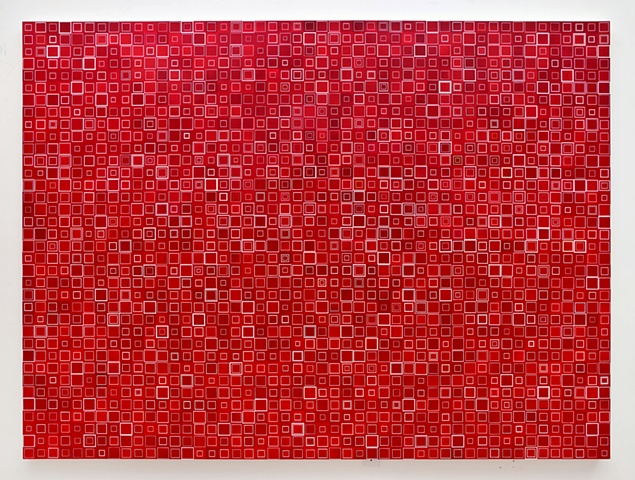 cadimium red, square, unmeasured, geometric, collaged painting, squares, minimal, abstract, acrylic, repetition, shape