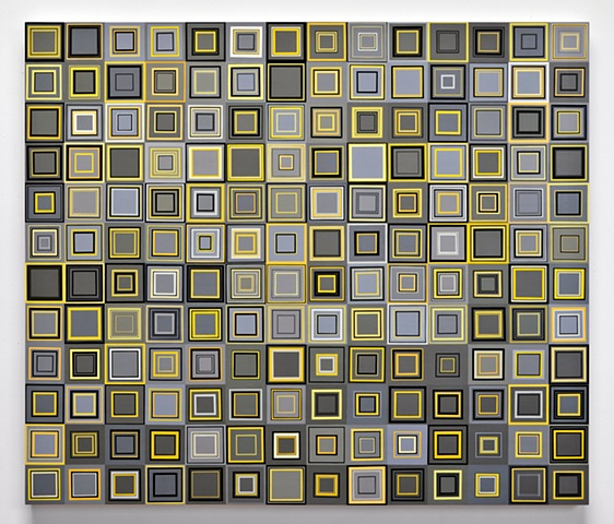 collaged painting, yellow, grey, yellow and grey, square, unmeasured, minimal, abstract, acrylic, shape, repetition