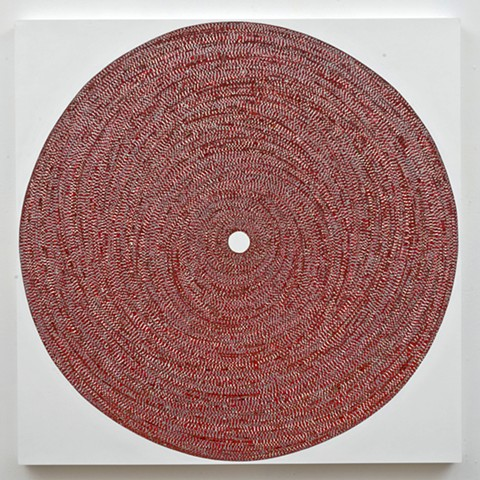 circle, repetition, shape, minimal, abstract, geometric, collaged painting, acrylic, tape, metallic