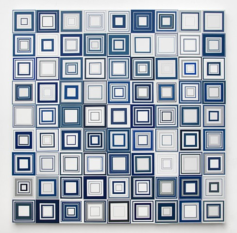 square, squares, repetition, shape, minimal, abstract, geometric, collaged painting