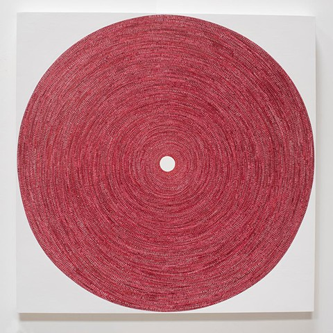 circle, contemporary art, red, yong sin, yong sin artist, collage, tape art