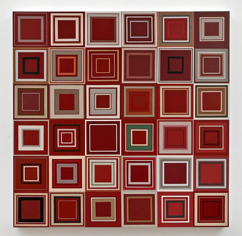 square, squares,repetition, shape, minimal, abstract, geometric, collaged painting, acrylic