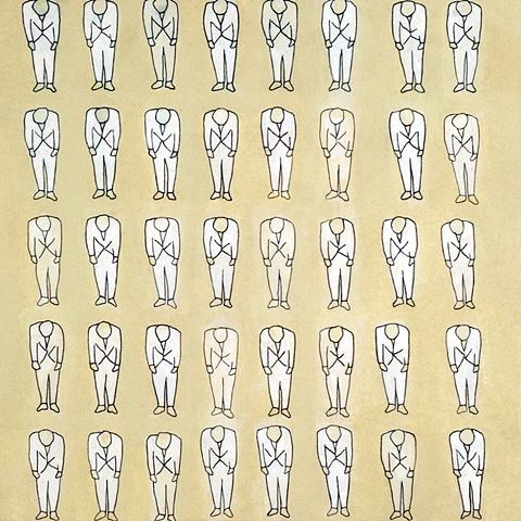 figure, repetition, ink drawing, minimal, variation, ink wash, pencil, graphite, bowing man