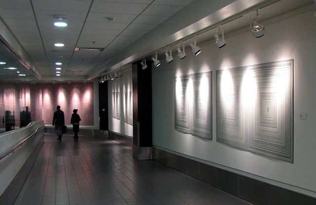 Installation view at Los Angeles International Airport, Terminal 1, southwest, tape