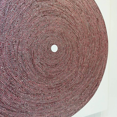 circle, painting, abstract, geometric, art, artist, painter, taped art, yongsin, yong sin, yong sin artist, silver, acrylic