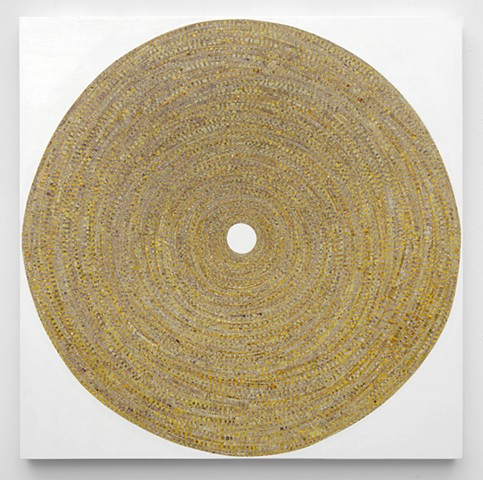 circle, abstract, minimal, shape, repetition, geometric, collaged painting, tape