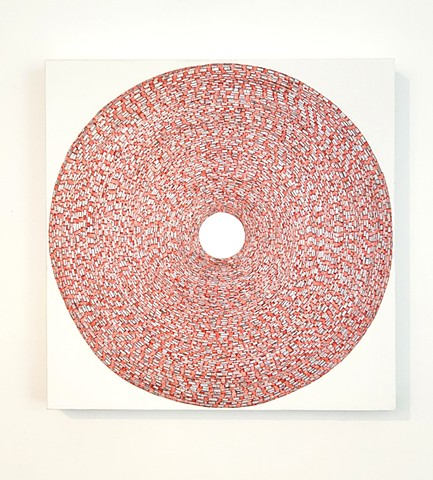 circle, collaged painting, art, painting, yong sin, yongsin, singular forms repeated, geometric