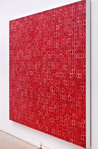 square, squares, shape, abstract, minimal, cadmium red, collaged painting, unmeasured, variations, shape