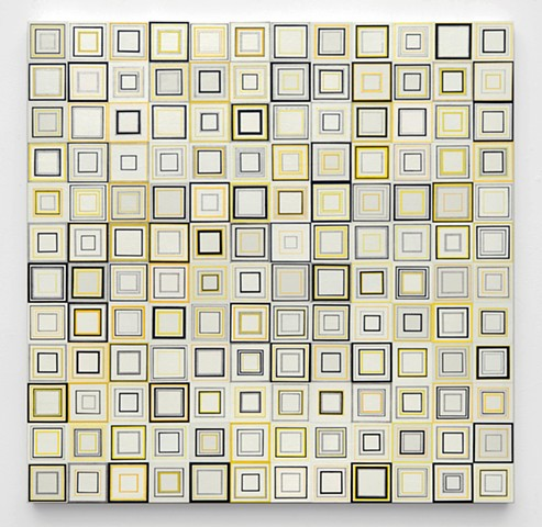 Square, abstract, minimal, shape, repetition, geometric, squares, metallic, yellow