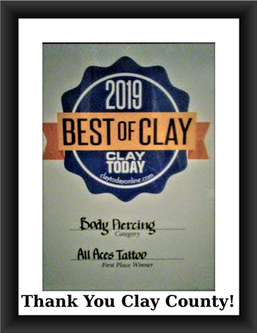 Best of Clay County 2019, body piercing, piercer, body piercing, body piercer, tattoo shop, piercing shop, piercing studio, Katherine Veroinca, All Aces Tattoo