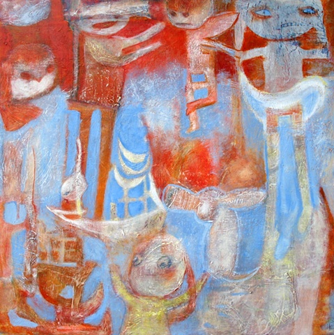 orange hell expressionism blue figures boat escape Portland