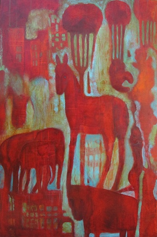 acrylic painting expressionism symbolism red animals horses red green parachute