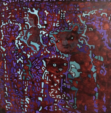 keep moving tiny painting red and purple figures