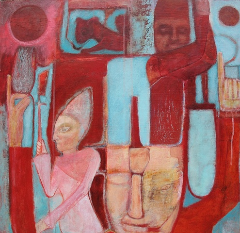 red middle east Egypt priests expressionism queen blue figures beasts moon
