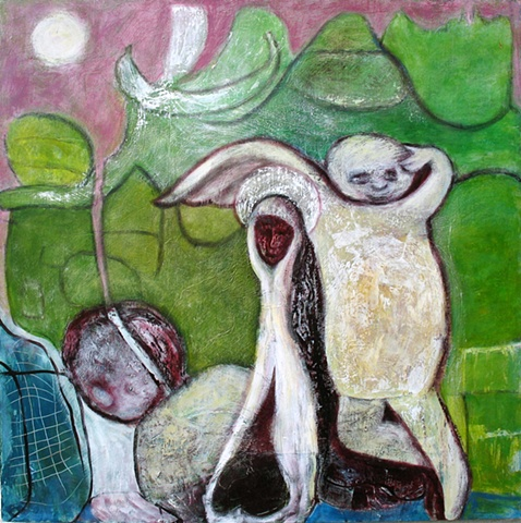 Mary green garden orchard religion expressionism fruit abstract angel