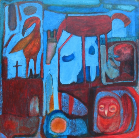 birds compartment gold and red horse expressionism acrylic painting Portland