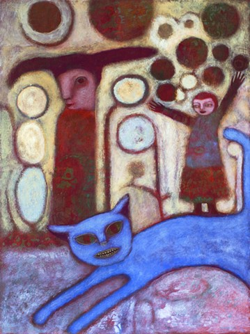 figures, expressionism, texture, red, cat, blue, Portland