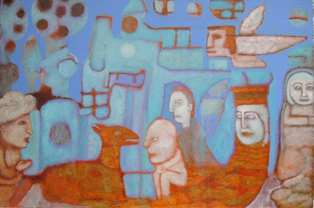 story far away periwinkle orange camel genie desert history angel sky Portland artist Cathie Joy Young