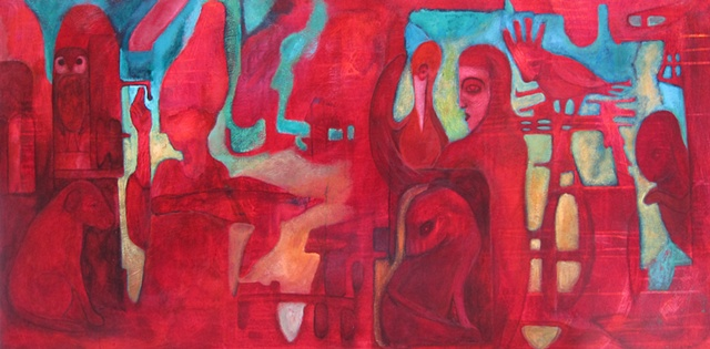 "painting, Portland, art, figures, red, green, acrylic, Egypt, symbolism, ""cathie joy young"", owls, expressionism, visionary"
