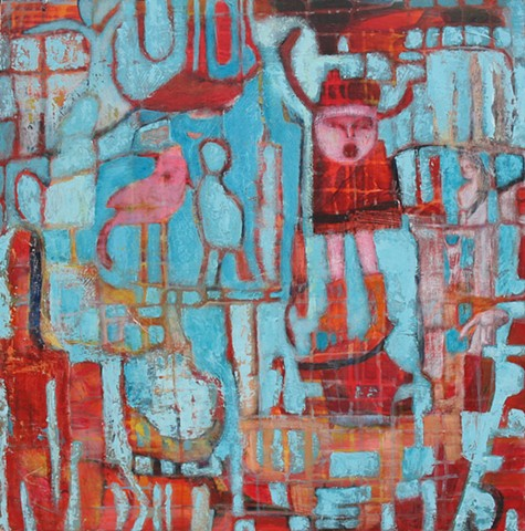 expressionism pilgrims red turquoise structure abstract bird pink