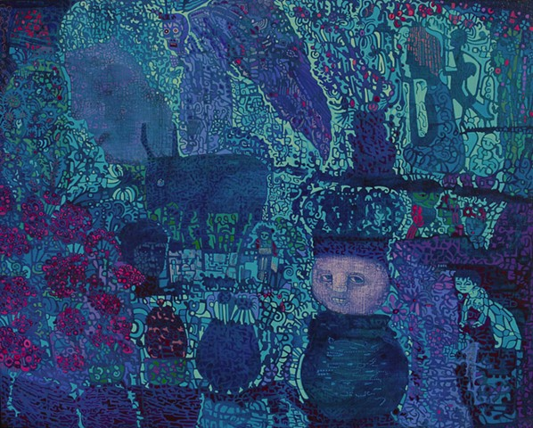 acrylic painting blue mauve purple figures patterning garden angel by Cathie Joy Young