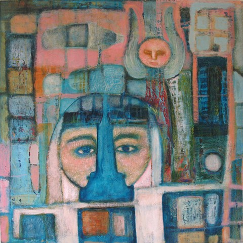 twins two pink blue mosaic figures angel ghost painting Portland artist Cathie joy Young