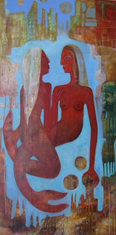 mermaids love ocean sea red water ancient architecture symbolism fish painting Portland artist Cathie Joy Young