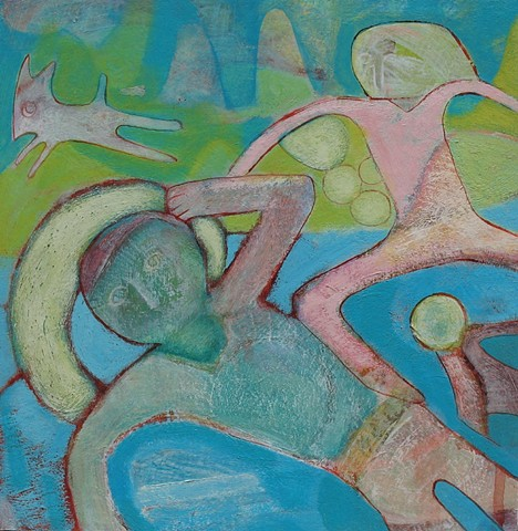 summer, water lake, blue green, figure, painting, artist Potland Cathie Joy young