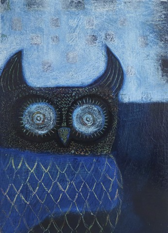 Dark Blue Owl by Cathie Joy Young