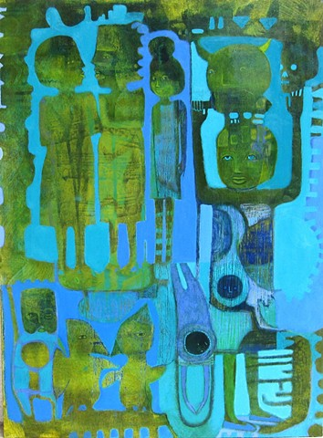Primitive Mods painting turquoise green Portland artist Cathie Joy Young