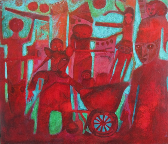 painting, red, crimson, creatures, acrylic, cabal, war, expressionism, Portland, art